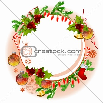 Christmas frame with balls