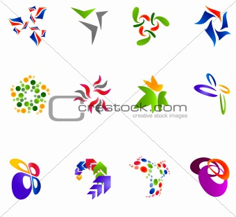 12 colorful vector symbols: (set 15)