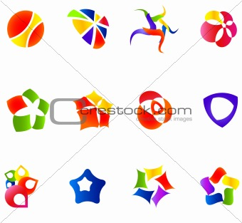 12 colorful vector symbols: (set 16)
