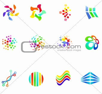 12 colorful vector symbols: (set 17)