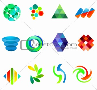 12 colorful vector symbols: (set 18)