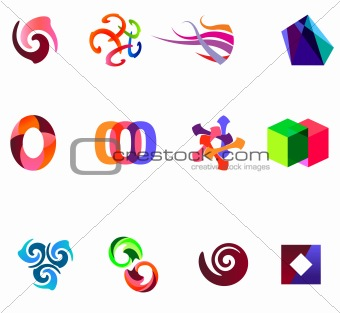 12 colorful vector symbols: (set 19)