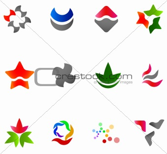12 colorful vector symbols: (set 13)