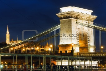 Budapest Chain Bridge night view