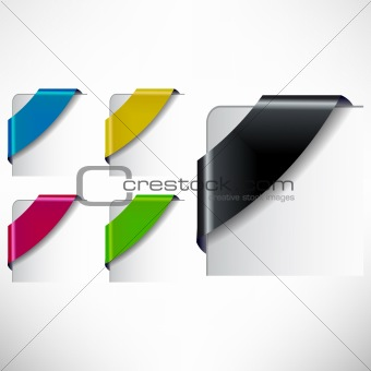 Vector Colored  Corner Ribbon Set
