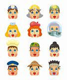 cartoon people job face icons set