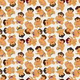 cartoon Sumo wrestler seamless pattern