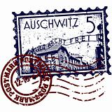 Vector illustration of Auschwitz stamp