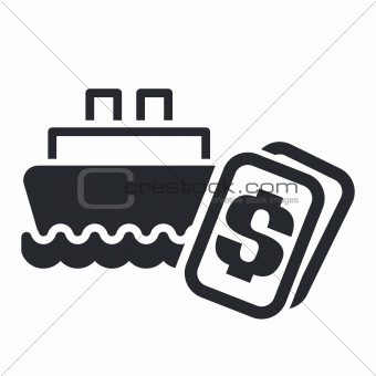 Vector illustration of boat cost icon