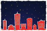 Vector illustration of stylized city at night