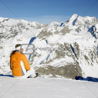 woman in winter mountains, Alps Mountains, Savoie, France