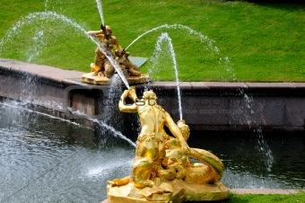 Fountains in Petergof park. Fountains Samson