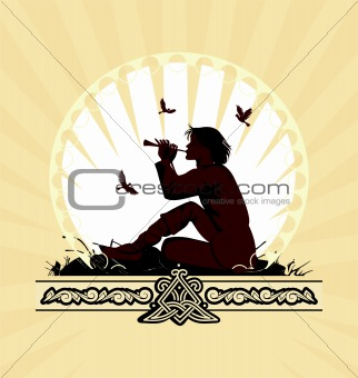 background with boy playing on panpipe