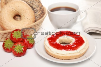 Breakfast with fresh bagels
