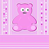 Cute Teddy Bear girl pink background greeting card