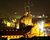 St. Nicholas church at night, New Year's Eve in Prague, Czech Republic