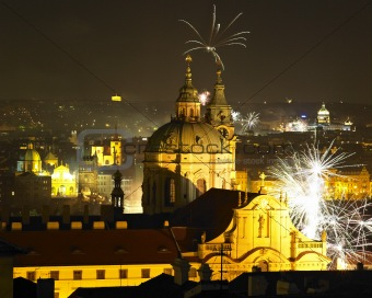St. Nicholas church at night, New Year&#39;s Eve in Prague, Czech Republic