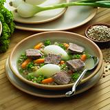 beef soup with vegetables and lentils
