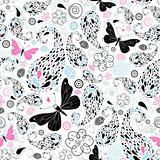 abstract pattern with butterflies