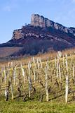 La Roche de Solutr with vineyards, Burgundy, France
