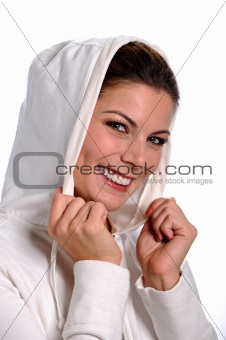 Beautiful smiling woman wearing a hoodie