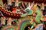traditional chinese dragon decoration on roof of temple