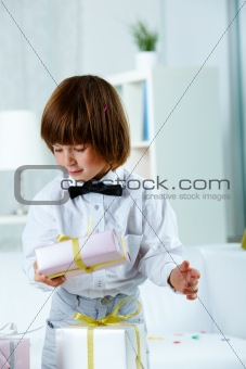 Boy with boxes