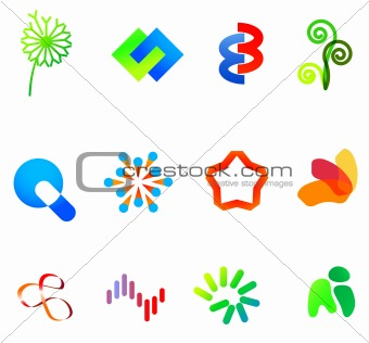 12 colorful vector symbols: (set 23)
