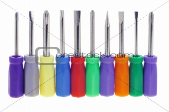 Assortment of colorful screwdrivers