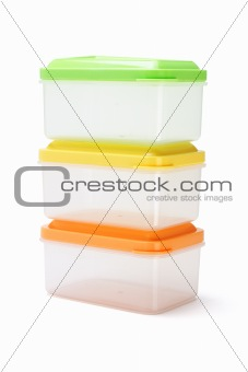 Three plastic boxes