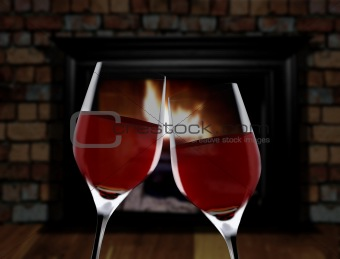 Celebration toast near fireplace