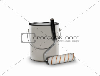 paint can and roller brush