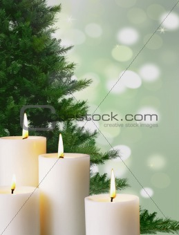Candle light and Christmas tree