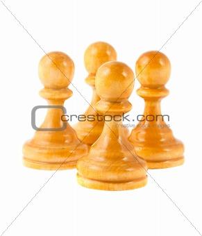 four white pawns
