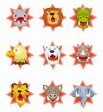 cartoon angry animal head icons