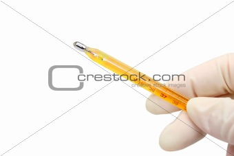 Hand with thermometer (clipping path)