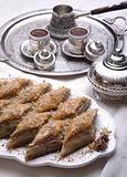 Ramadan dessert baklava and turkish coffee