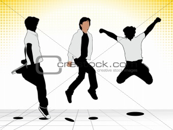 abstract jumping boy silhouette