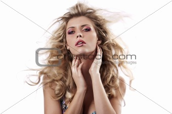 sensual girl with flying hair