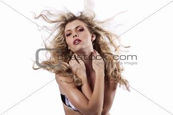 beautiful blonde throwing her long hair