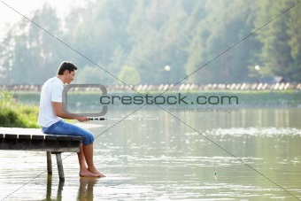 A man fishes