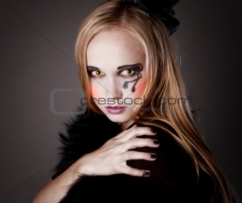 pretty girl makeup as a witch