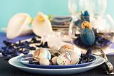 Easter table setting in blue and white