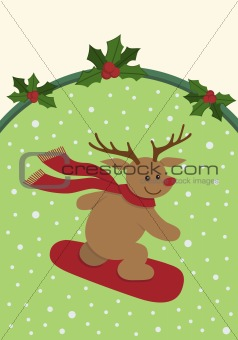 Snowboarding Reindeer