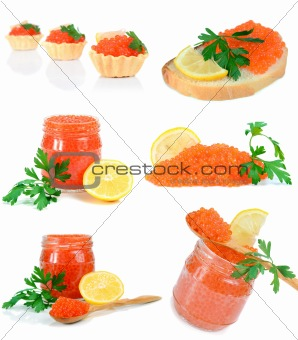 caviar red in a glass jar with lemon and parsley
