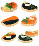 sandwich with red and black caviar