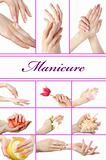 collage.Beautiful hand with perfect french manicure  group photo