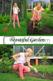 Collage. Beautiful casual woman gardening