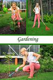 Collage. Beautiful casual woman working in garden