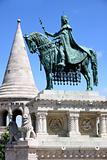 Saint Istvan statue and fisherman's bastion in Budapest, Hungary